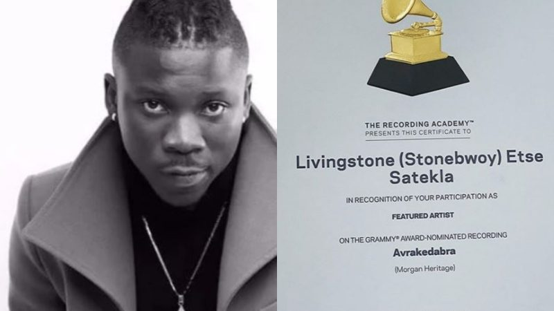 Stonebwoy finally receives certificate for 2017 Grammy nomination